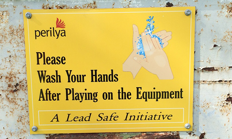 The new signage at Zinc Lakes urges children to wash their hands after play. Image: M Taylor