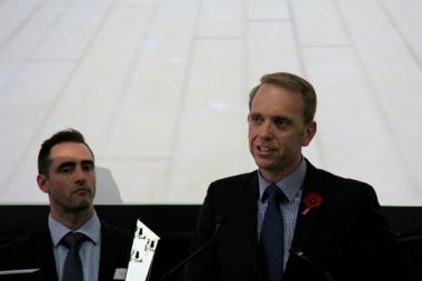 ACT Environment Minister Simon Corbell, with (left) Matthew Bell of EY