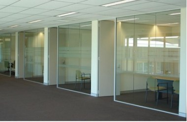 Glass partitions are popular
