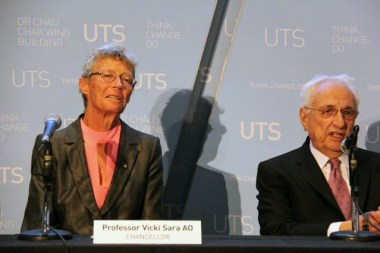 Chancellor VIcky Sara and architect Frank Gehry