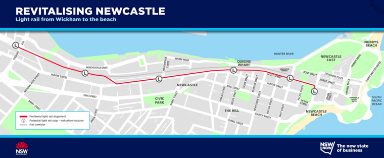 Where the proposed light rail would run.  Revitalising Newcastle