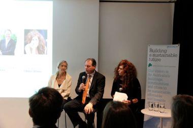 Tanya Cox, GBCA chair; Mark Steinert, Stockland; Natalie Isaacs, I Million Women