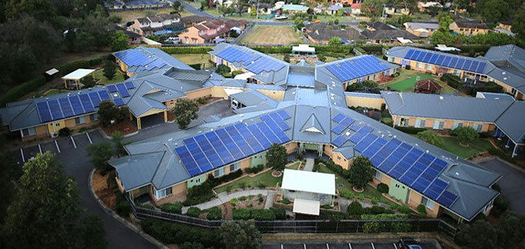 """HammondCare Woy Woy's solar panel installation and cottage layout with central """"back of house"""" corridors for movement of clinical and building management materials and services."""