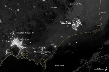 The 2014 Snowy River Fire at night, as captured by NASA's Earth Observatory, was roughly the same size as Melbourne. NASA Earth Observatory