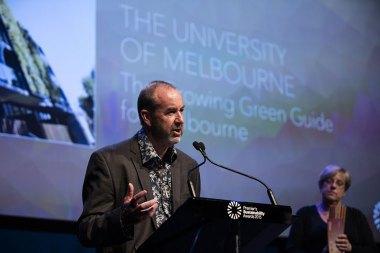 University of Melbourne urban horticulture professor John Rayner accepting the Education Award.