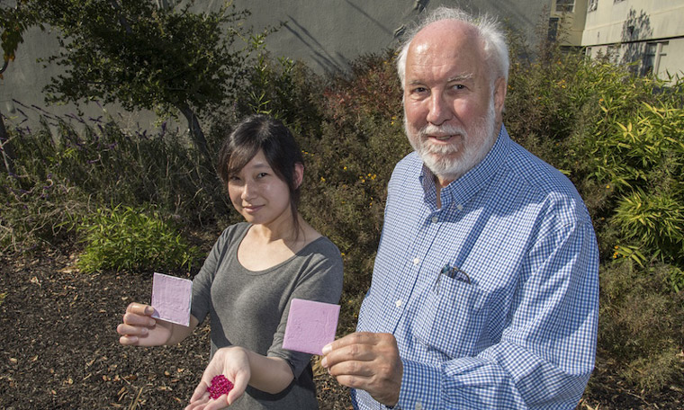 Berkeley Lab researchers Sharon Chen and Paul Berdahl hold up their prototype coating made from ruby powder and show synthetic ruby crystals used in early tests. Image: Marilyn Chung/Berkeley Lab
