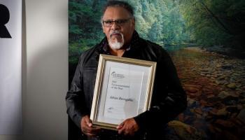 Adrian Burragubba with bob brown foundation award