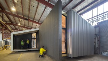 prefab house built in warehouse