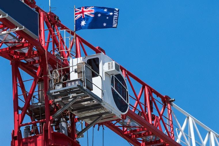 Australian flag on crane
