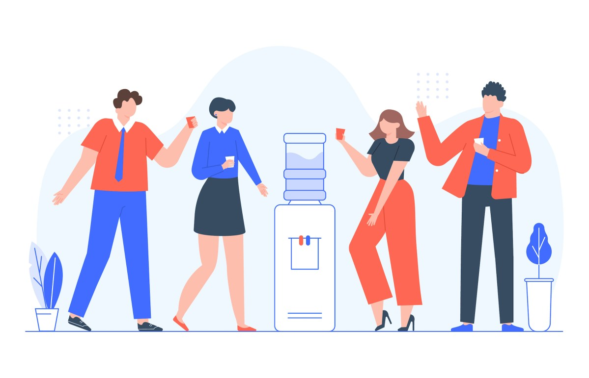 people around water cooler