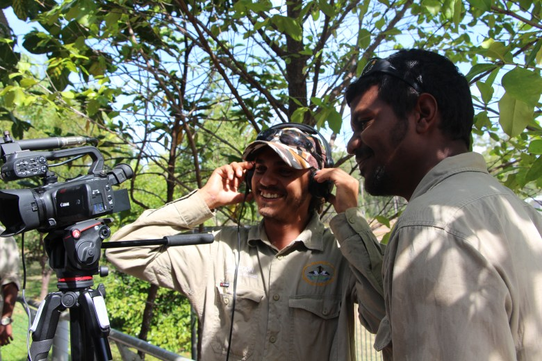 Mapoon rangers learning how to use video equipment during training course