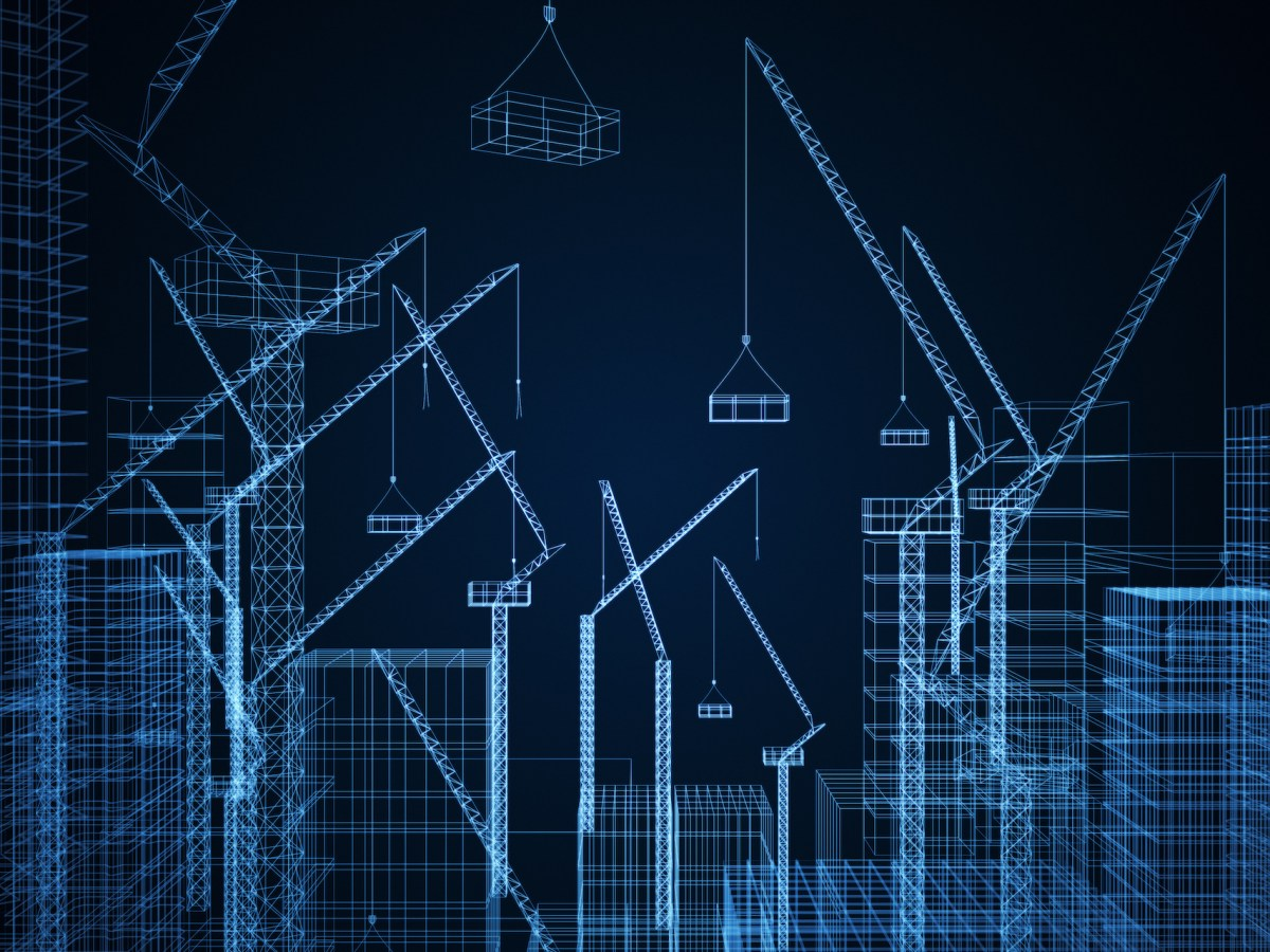 Creative digital construction drawing background with buildings and cranes. Engineering and design cocnept. 3D Rendering