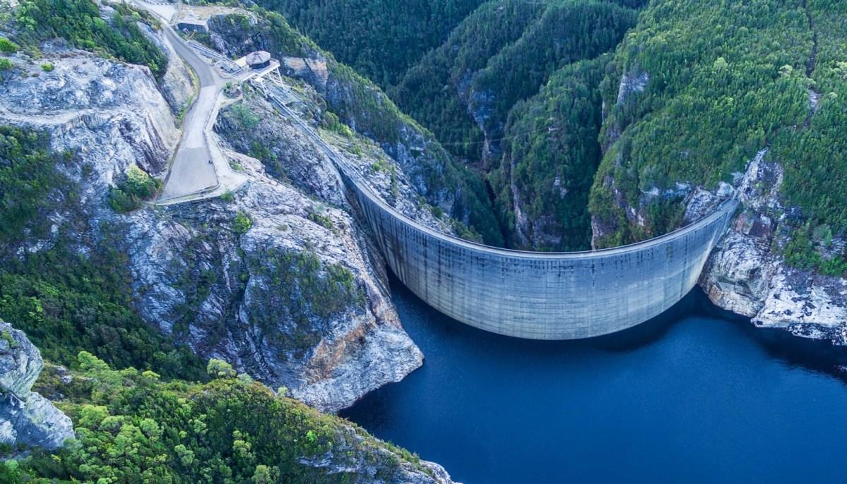 Aerial view of Gordon Dam and lake. Southwest, Tasmania
