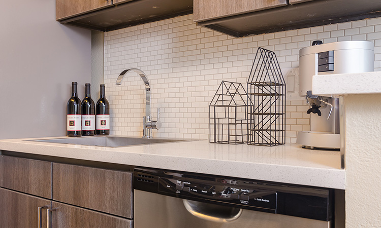 Close up detail of the kitchen counters and faucet