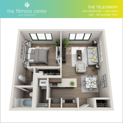 The Telegraph 1 bedroom floor plan diagram