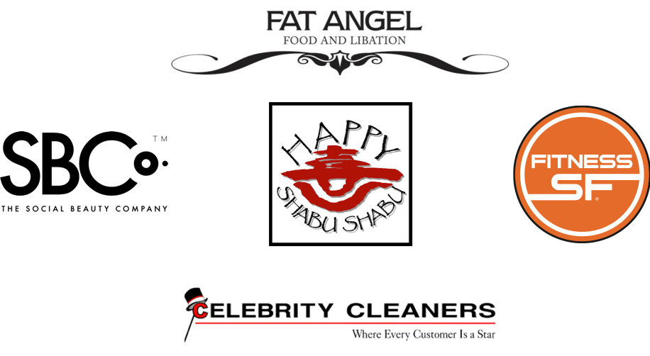 Fat Angel logo, Happy Shabu Shabu Logo, SF Fitness logo, Celebrity Cleaners logo