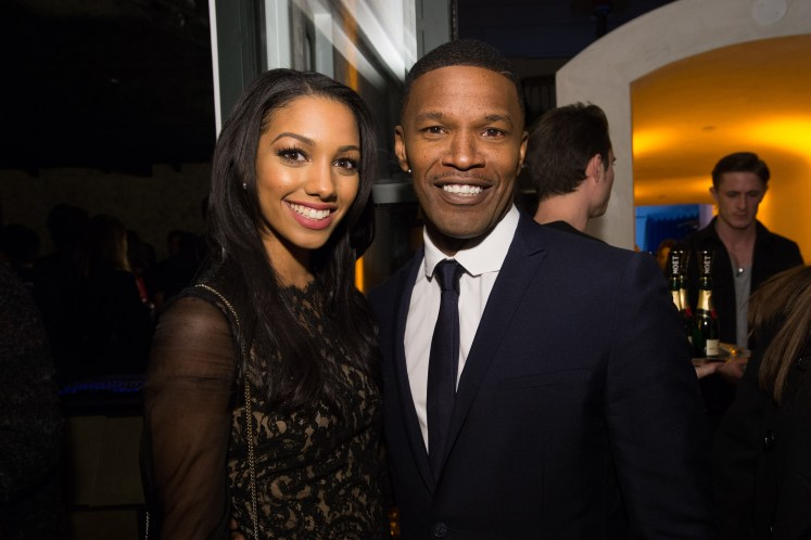 Corinne Foxx and Jamie Foxx attend a party for the announcement of Corinne Foxx as Miss Golden Globe 2016 for the 73rd Annual Golden Globe Awards set to air live on NBC on January 10, 2016. President Lorenzo Soria made the announcement on November 17, 2015 from Ysabel Restaurant in West Hollywood.