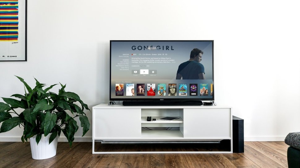 Picture of a crisp TV set with a streaming service on.