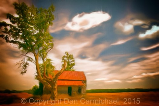 Original Paintings - Old Rustic Vintage Farm House and Tree