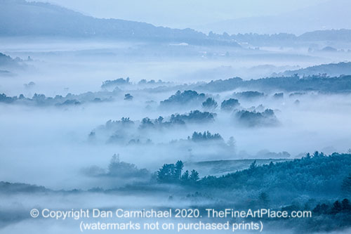 A foggy view from the Blue Ridge Parkway
