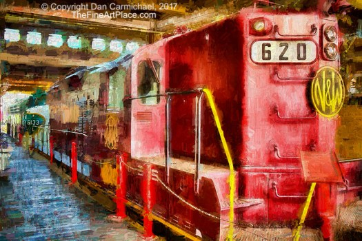 Red Locomotive Train.  A painting from a photo.