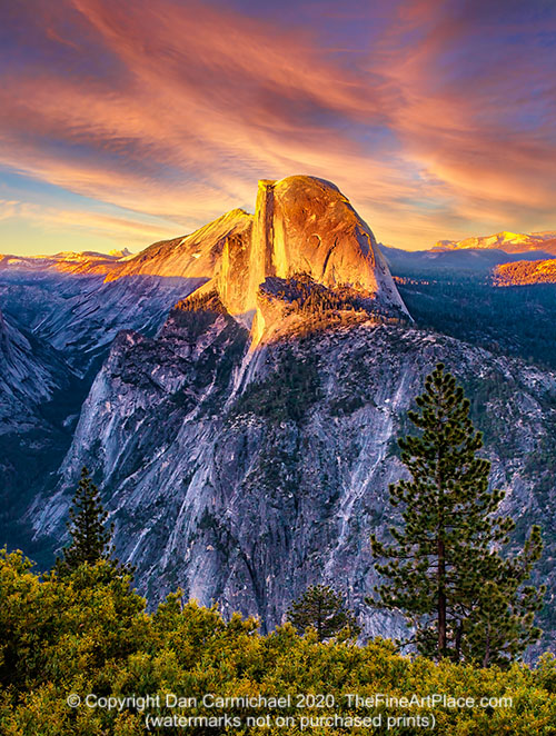 Yosemite Half Dome at sunset.  Fine art photography for sale.