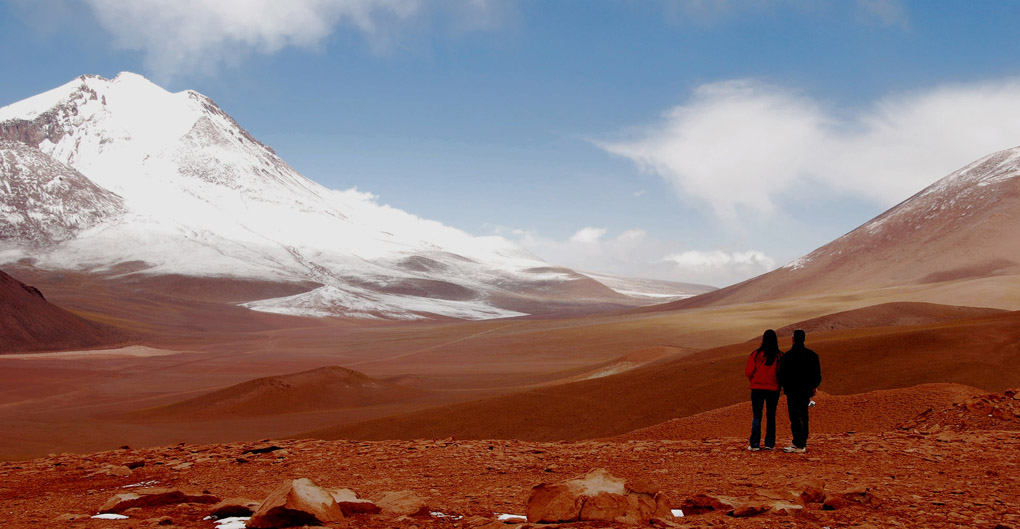 South America; Chile; Atacama Desert; A couple in the Desert