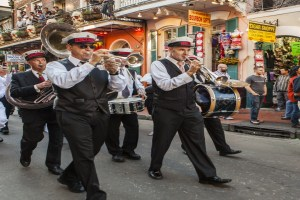 Wedding procession along Bourbon Street/