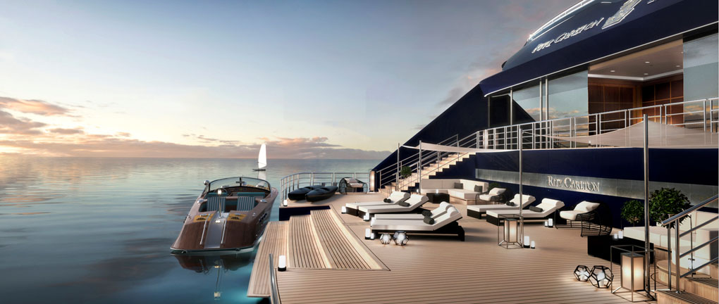 The aft marina of one of the new luxury yachts