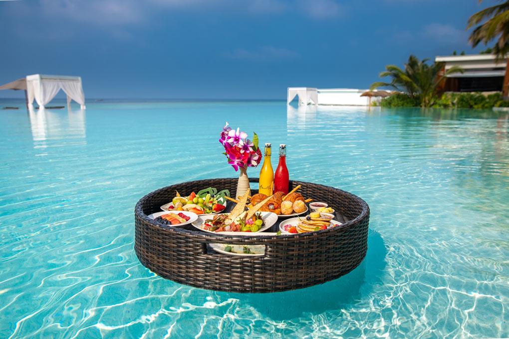 Amilla Fushi, Maldives, floating breakfast, luxury holiday