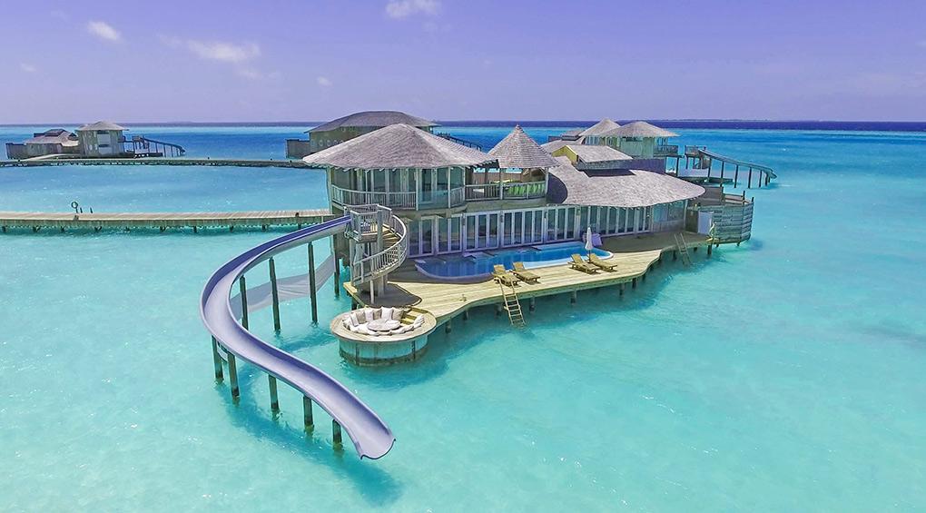 The Maldives, Soneva Jani, water slide, luxury retreat