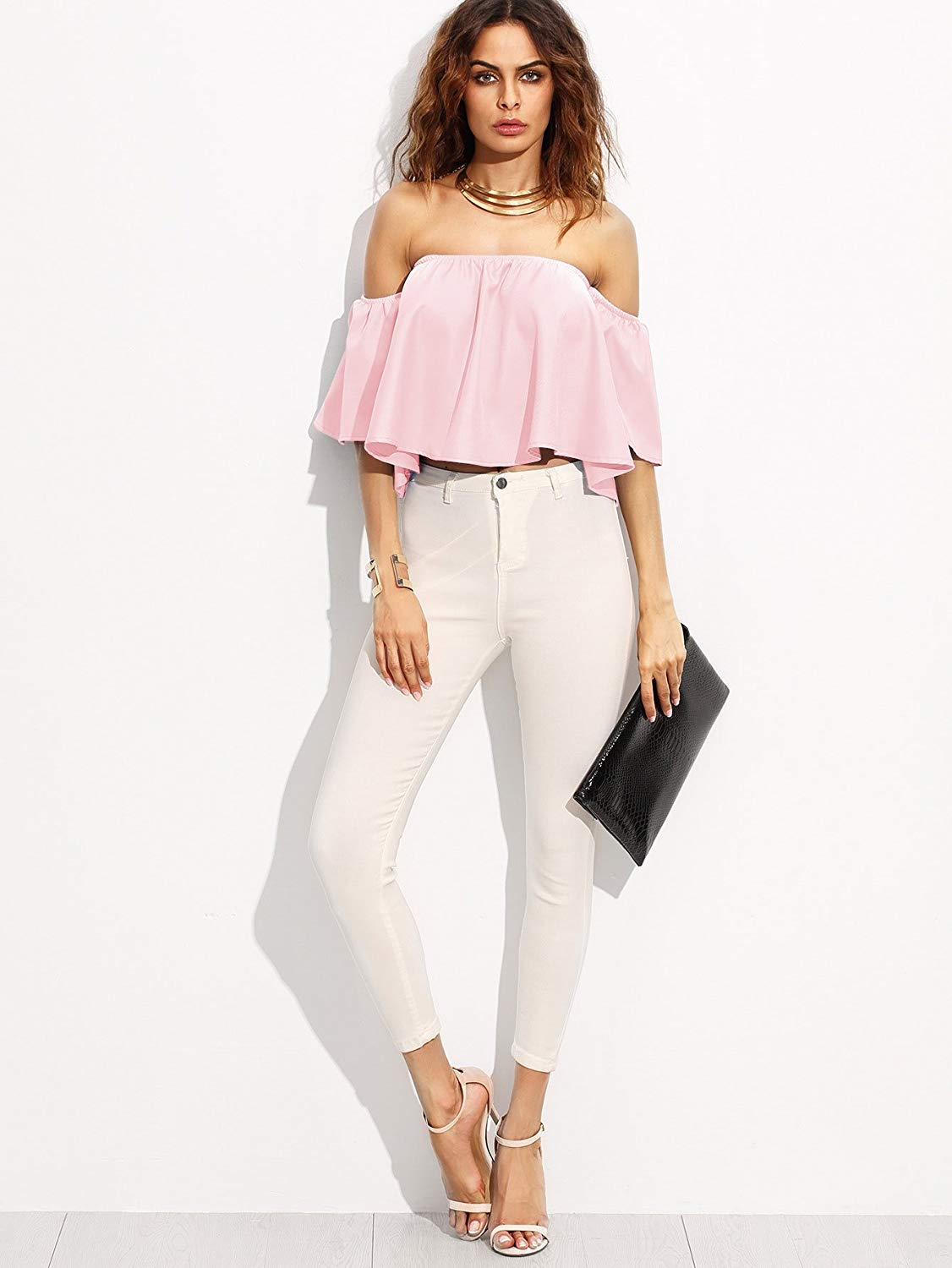 Cold shoulder crop top pink. Casual Womens Fashion and Womens Cool Trending Clothes, Dresses. #womensfashion #womensdress #summeroutfit #casualoutfit