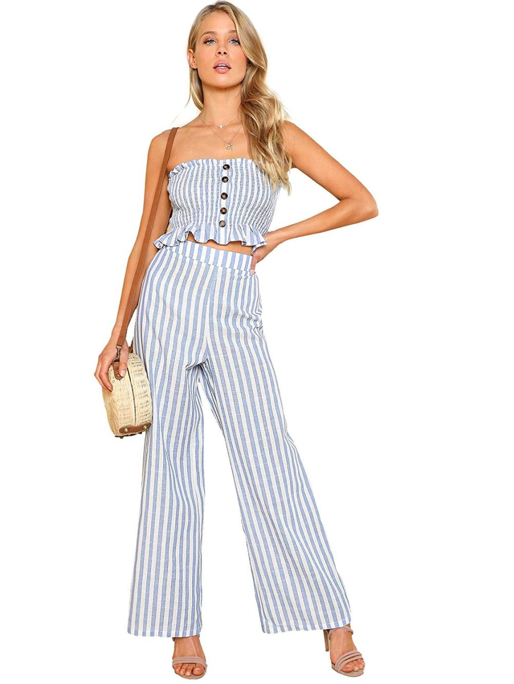 striped tube top and tie-up pants set. Casual Womens Fashion and Womens Cool Trending Clothes, Dresses. #womensfashion #womensdress #summeroutfit #casualoutfit