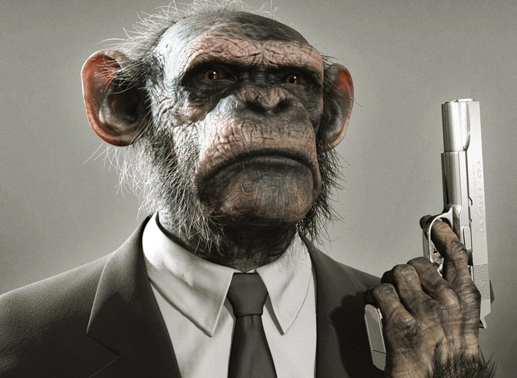 A serious-looking chimpanzee in a business suit. He holds a gun, and looks ready to use it.