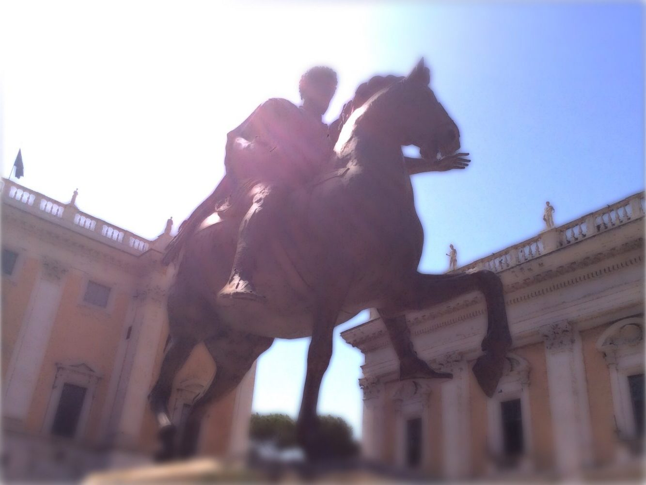 Horse & rider racing. Dazzling sunlight. Classical architecture.
