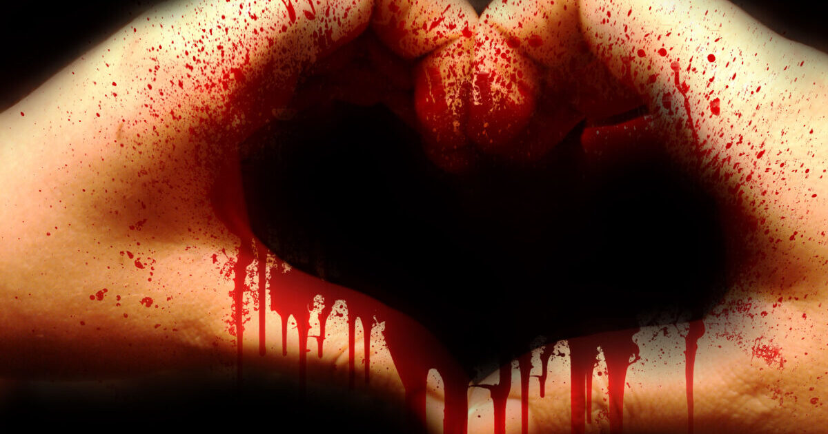 Bloody hands, used to form the shape of a heart