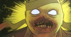 Mummy mask unwrapped, noseless zombie beneath