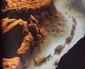 Wagon train through the canyon
