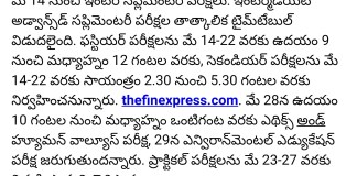 AP Inter Advanced Supplementary exam fee, Time table 2018