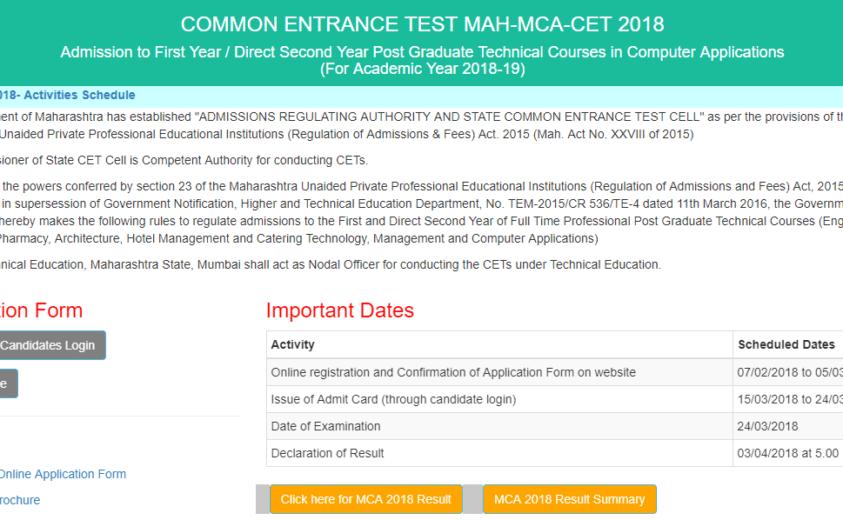 DTE MCA CET 2018 Results Declared @ Dtemaharashtra.gov.in; Check Now