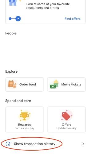Google Pay Transaction History