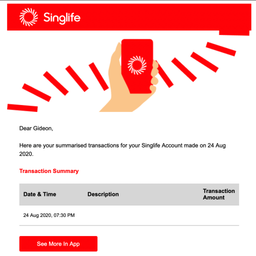 SingLife Transaction Email