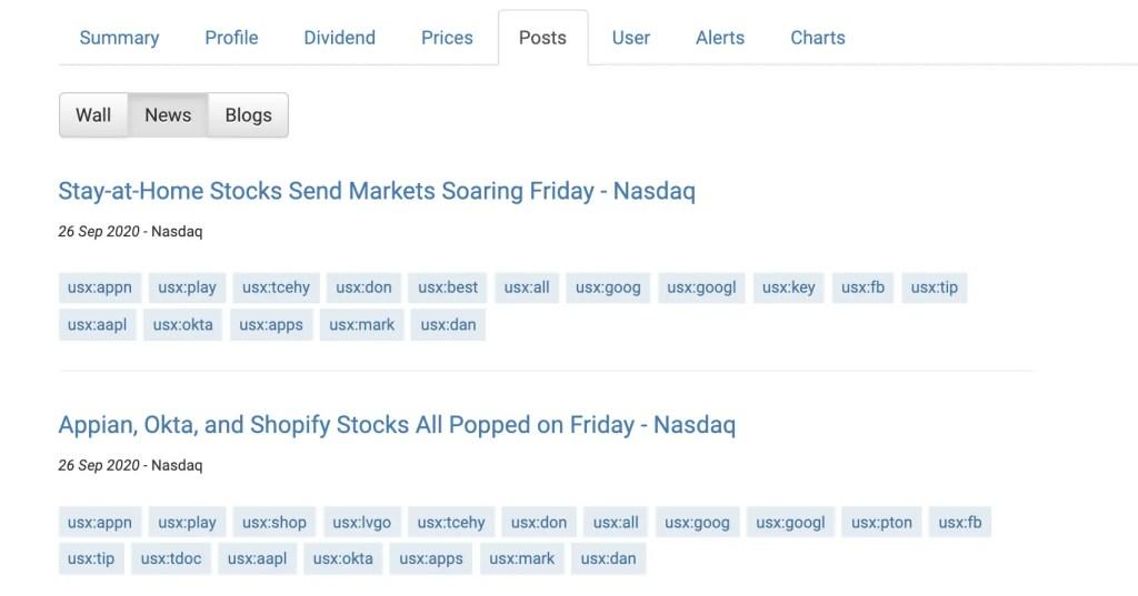 StocksCafe Stock Profile Posts