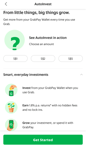 Grab AutoInvest Select Investment Amount