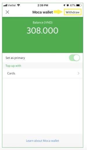 Grab Vietnamese App Withdraw From GrabPay Wallet