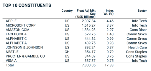MSCI World Index Top Holdings