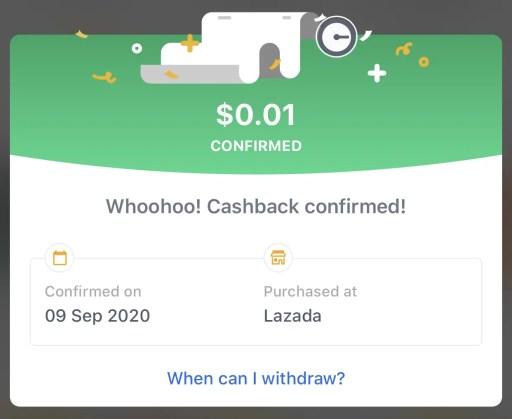 ShopBack Redeemable Cashback