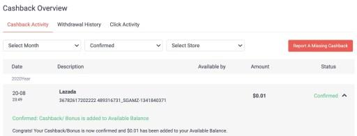 ShopBack Verified Transaction