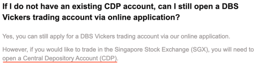 DBS Vickers Use CDP To Trade In SGX