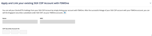 FSMOne Enter CDP Account Details